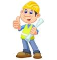 Cartoon Construction worker repairman vector image