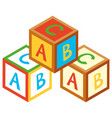 3d design for alphabet blocks vector image