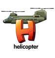 A letter H for helicopter vector image vector image