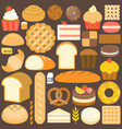 bakery product icon set in flat design vector image