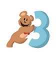 bear number three flat design vector image