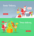 best presents of santa xmas delivery on postcard vector image vector image
