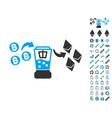 bitcoin etherium mixer icon with bonus symbols vector image vector image