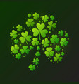 bright shamrock made of green clover icons vector image vector image