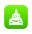buddha statue icon digital green vector image