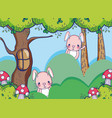 bunnies in the forest cute cartoons vector image vector image