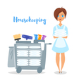 cartoon style of hotel housekeeper vector image