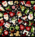 christmas seamless pattern of icons on black vector image vector image