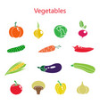 color set of vegetables vector image vector image