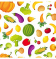colorful farm fresh fruit and vegetables seamless vector image