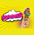 comic text ice cream break time pop art vector image