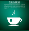 cup with tea bag icon isolated on green background vector image
