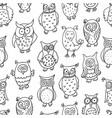 cute cartoon wise owl vector image vector image