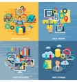 Data Analytics 4 Flat Icons Square vector image vector image