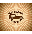 Delivery vintage label with car vector image vector image