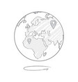 earth icon sketch with marks of trip destinations vector image vector image