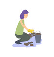 farmer is harvesting potatoes vector image