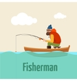 fishing on boat of vector image