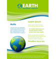 green and blue document template with planet vector image vector image