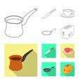 isolated object of kitchen and cook icon set of vector image vector image