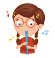kid playing flute vector image