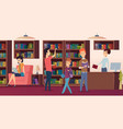 library background bookshelves in school vector image