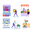 local organic food market character set farm store vector image