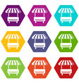 local stall icons set 9 vector image vector image