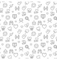 love concept seamless outline pattern vector image vector image