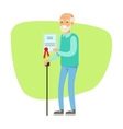 Old Man With Walking Stick Holding Insurance vector image vector image