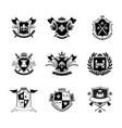 ornate royal shield badge set isolated on white vector image vector image