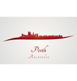 Perth skyline in red vector image vector image