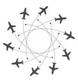 planes flying with trace in different directions vector image vector image