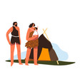 prehistoric life and culture family house vector image vector image