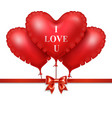 red heart balloons with red satin ribbon isolated vector image vector image