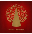 Red Merry Christmas Vintage Card vector image