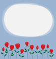 red roses on blue backround with white copy space vector image