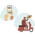 safe food ordering in mobile app courier riding vector image