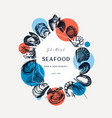 seafood trendy collage design shellfish frame vector image vector image