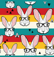 seamless pattern with stripes and white rabbits in vector image vector image