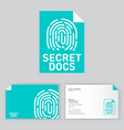 secret documents logo fingerprint icon security vector image