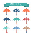 Set of cute flat style autumn umbrellas vector image vector image