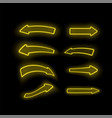 set of different neon yellow arrows vector image vector image