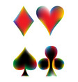 Set of playing card suits on white