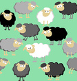 Sheep seamless pattern on a green background vector image