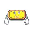silent ticket mascot cartoon style vector image