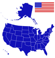 Silhouette map and flag of USA vector image vector image