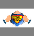 super team sign superhero open shirt with vector image vector image