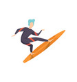 surfer guy in swimwear riding a surfboard young vector image vector image