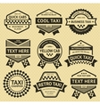 Taxi cab set insignia old style vector image